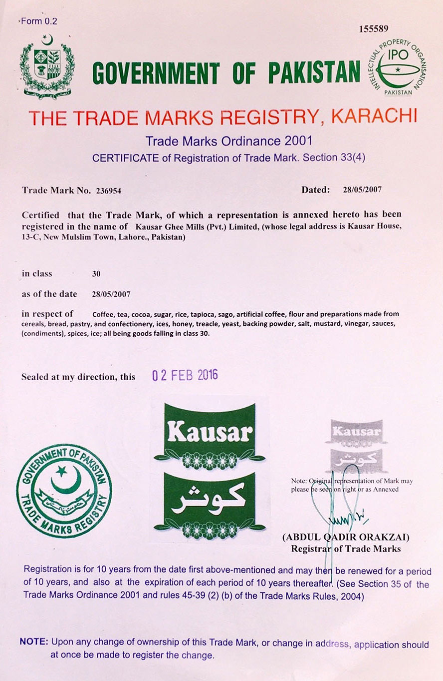 Kausar is a registered trade mark in class 30 in Pakistan.
