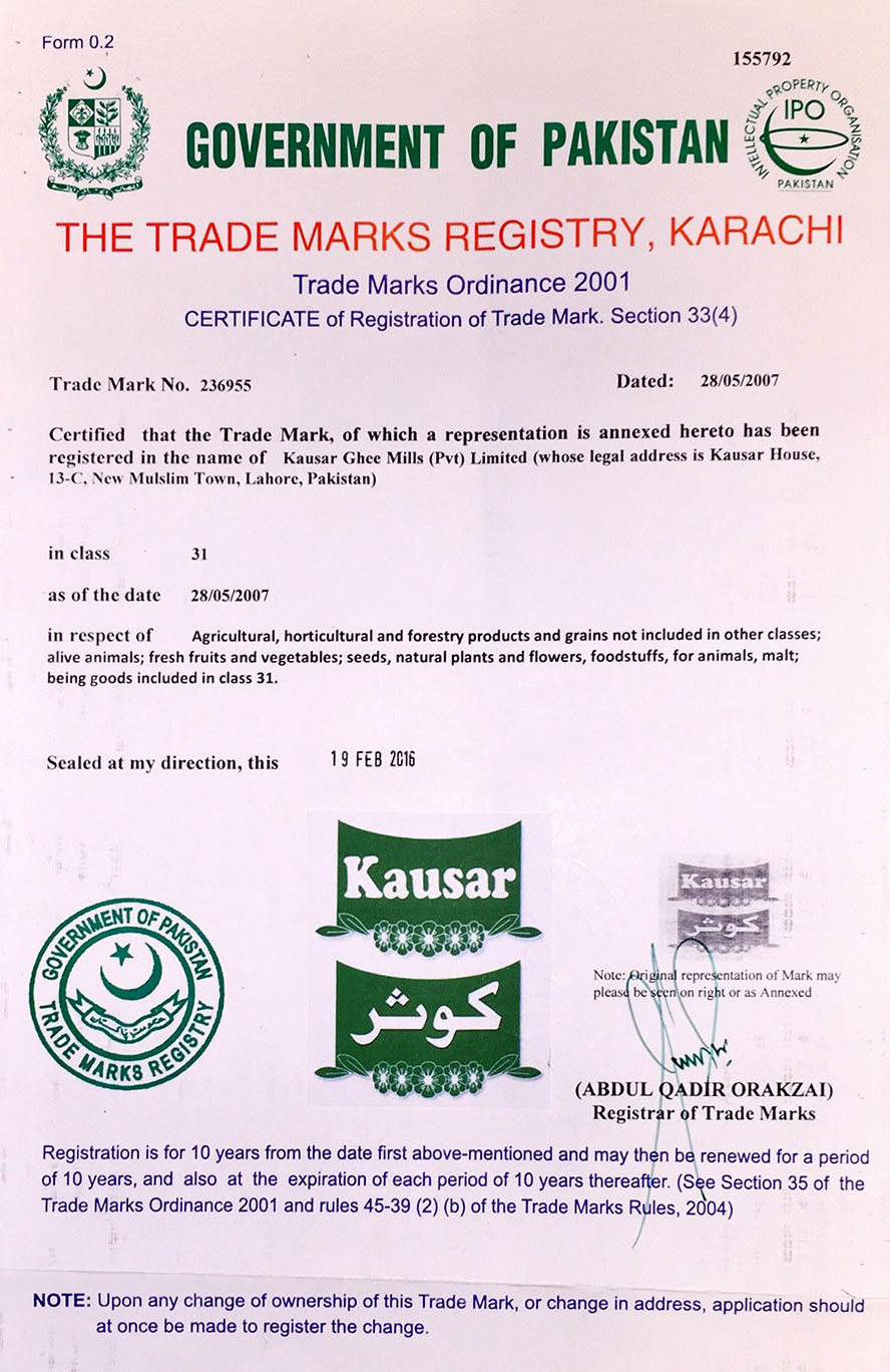 Kausar is a registered trade mark in class 31 in Pakistan.
