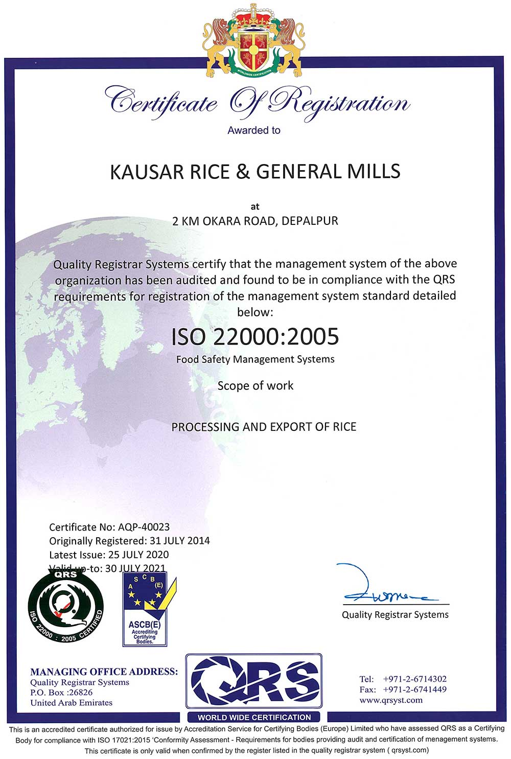 Rice Quality Control and Certifications 1
